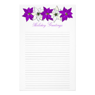 Purple Christmas Poinsettia Lined Writing Paper Stationery