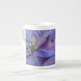 Purple christmas poinsettia tea cup