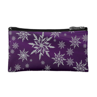 Purple Christmas stars with white ice crystal Cosmetic Bag