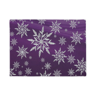 Purple Christmas stars with white ice crystal Doormat