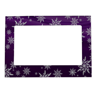 Purple Christmas stars with white ice crystal Magnetic Frame