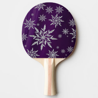 Purple Christmas stars with white ice crystal Ping Pong Paddle
