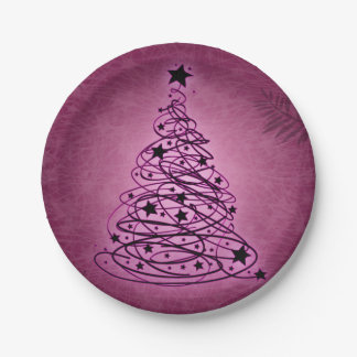 Purple Christmas Tree Modern Art 7 Inch Paper Plate