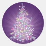 Purple Christmas Tree Round Stickers