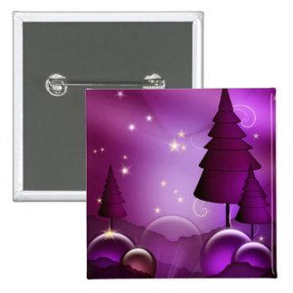 Purple Christmas Trees 15 Cm Square Badge