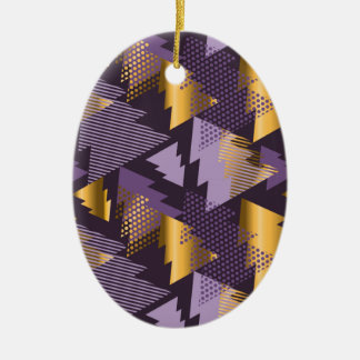 purple christmas trees ceramic oval decoration