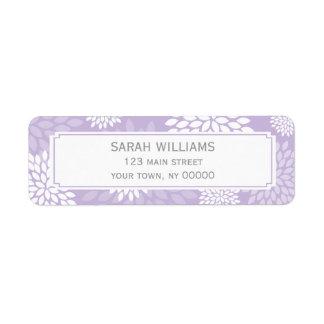 Purple Chrysanthemums Floral Pattern Return Address Label