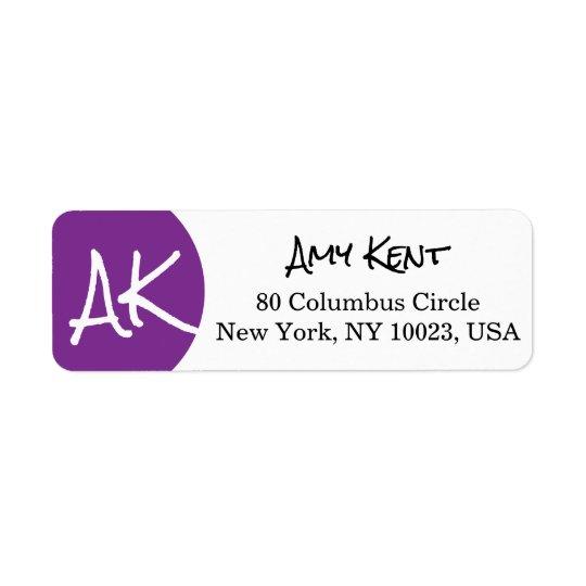 Purple Circle/Dot Modern Custom Monogram Label