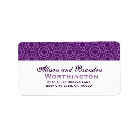 Purple Circle Flowers Wedding Template Label
