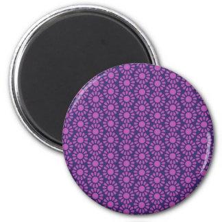 Purple Circle Pattern Flower Design Gifts 6 Cm Round Magnet