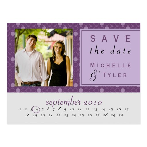 Purple Circle Save the Date Card Post Card