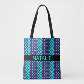 Purple Circle Style Pattern on Bright Aqua Blue Tote Bag