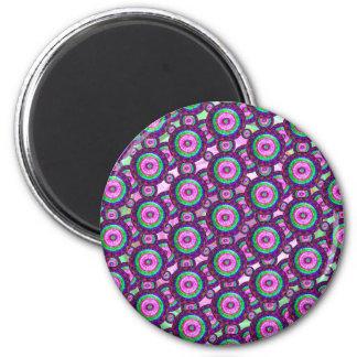 Purple circles 6 cm round magnet