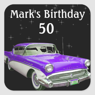 Purple Classic Muscle Car Birthday Bash Square Sticker