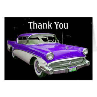 Purple Classic Muscle Car Birthday Thank You Card