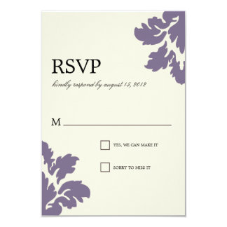 PURPLE CLASSY DAMASK | WEDDING RSVP 9 CM X 13 CM INVITATION CARD