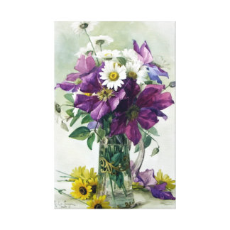 Purple Clematis Flowers Gallery Wrap Canvas