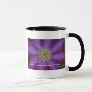Purple clematis Rabindranath Tagore quote Mug