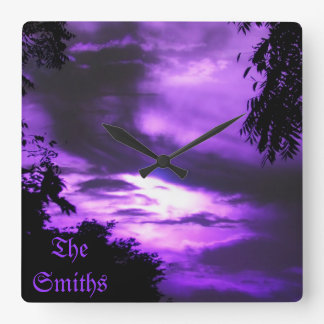 Purple Clouded Sky Wall Clock