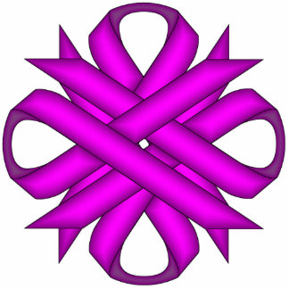 Purple Clover Ribbon Photo Sculpture Key Ring
