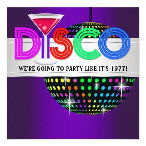 Purple Cocktail Disco Party Invitations