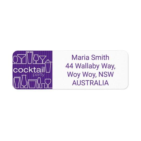 Purple cocktail party return address label