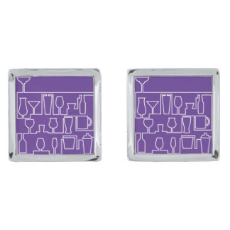 Purple cocktail party silver finish cufflinks