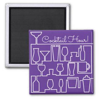 Purple cocktail party square magnet