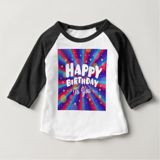 Purple Color burst happy birthday to you Baby T-Shirt