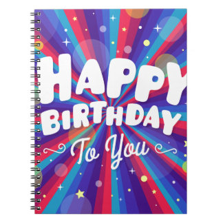 Purple Color burst happy birthday to you Notebook