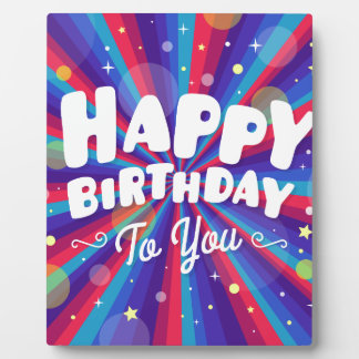 Purple Color burst happy birthday to you Plaque