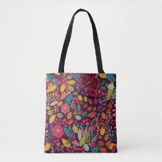 Purple Color Forest Autumn Leaves Pattern Tote Bag