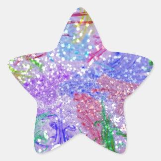 Purple Colorful Watercolor Abstract Glitter Photo Star Sticker