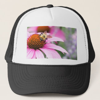 Purple Cone Flower with Bee Trucker Hat