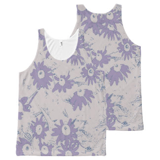 Purple Cone Flowers with Grey Background All-Over Print Singlet