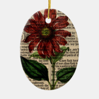 Purple Coneflower Flower Ceramic Ornament