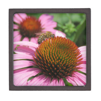 Purple Coneflower with Bee Premium Trinket Box