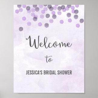 Purple Confetti Welcome Poster Print