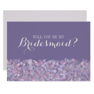 Purple Confetti Will You Be My Bridesmaid Card