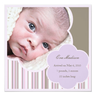 Purple Contemporary Baby Girl Announcement