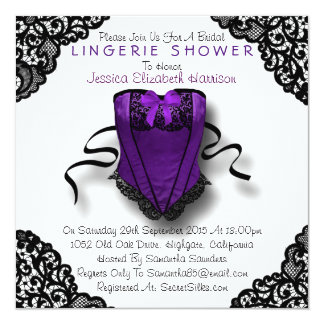 "Purple Corset & Black Lace Lingerie Shower 5.25"" Square Invitation Card"