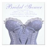 Purple Corset Lavender Bridal Shower 5.25x5.25 Square Paper Invitation Card