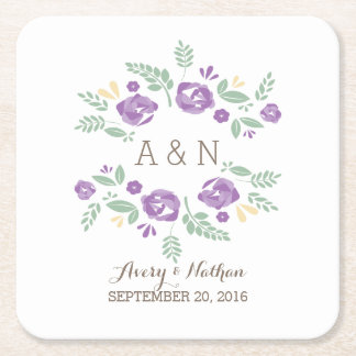 Purple Country Floral Monogram Paper Coasters