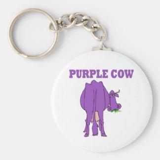 Purple Cow Basic Round Button Key Ring