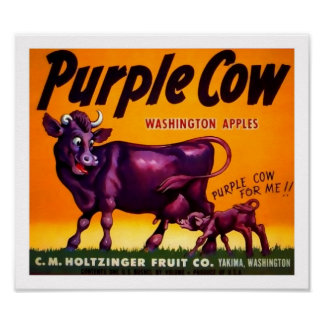 Purple Cow Produce Crate Label - Poster 2