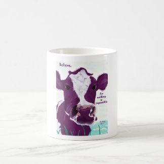 Purple Cow Quite Possibly Contemplating Flight Basic White Mug