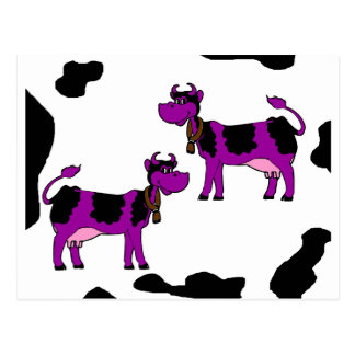 Purple Cow With Black And White Background Postcard