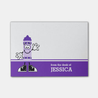 Purple Crayon Personalized Post-it Notes