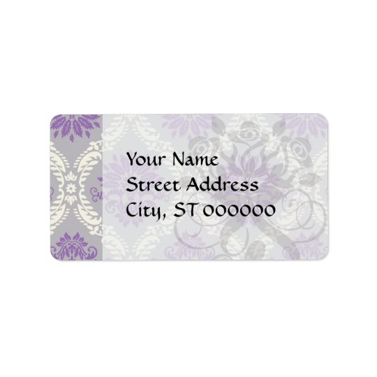 purple cream and grey royale damask label