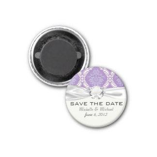 purple cream damask pattern 3 cm round magnet